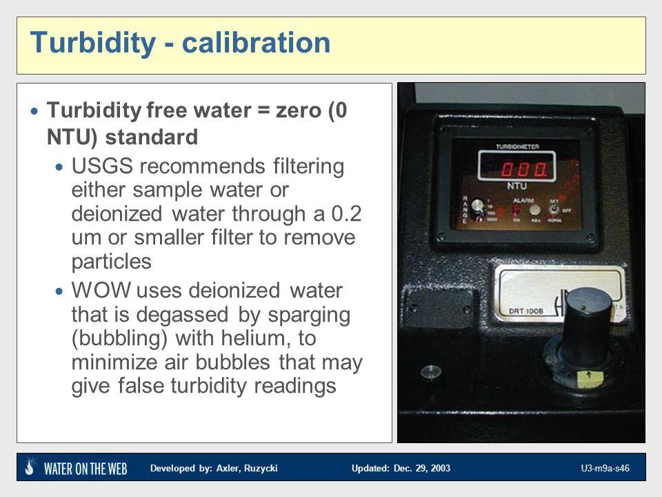 Developed by: Axler, Ruzycki Updated: Dec. 29, 2003 U3-m9a-s46 Turbidity - calibration Turbidity free water = zero (0 NTU) standard USGS recommends fi