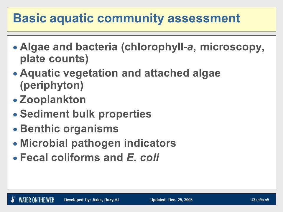 Developed by: Axler, Ruzycki Updated: Dec. 29, 2003 U3-m9a-s5 Basic aquatic community assessment Algae and bacteria (chlorophyll-a, microscopy, plate