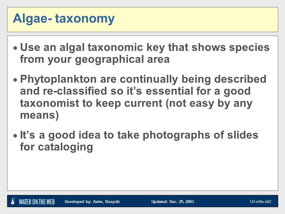 Developed by: Axler, Ruzycki Updated: Dec. 29, 2003 U3-m9a-s62 Algae- taxonomy Use an algal taxonomic key that shows species from your geographical ar