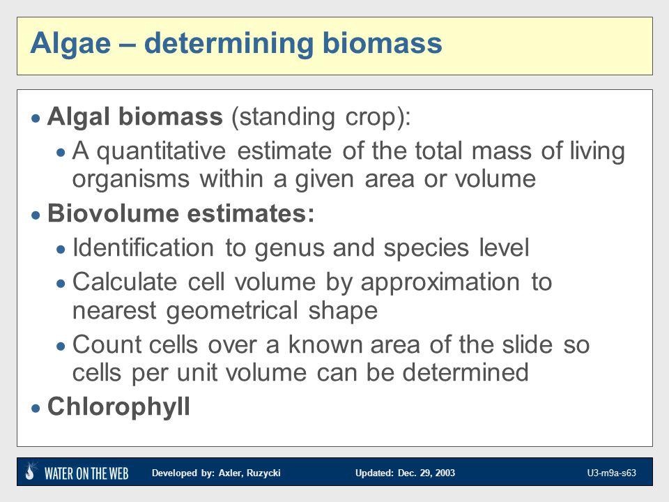 Developed by: Axler, Ruzycki Updated: Dec. 29, 2003 U3-m9a-s63 Algae – determining biomass Algal biomass (standing crop): A quantitative estimate of t