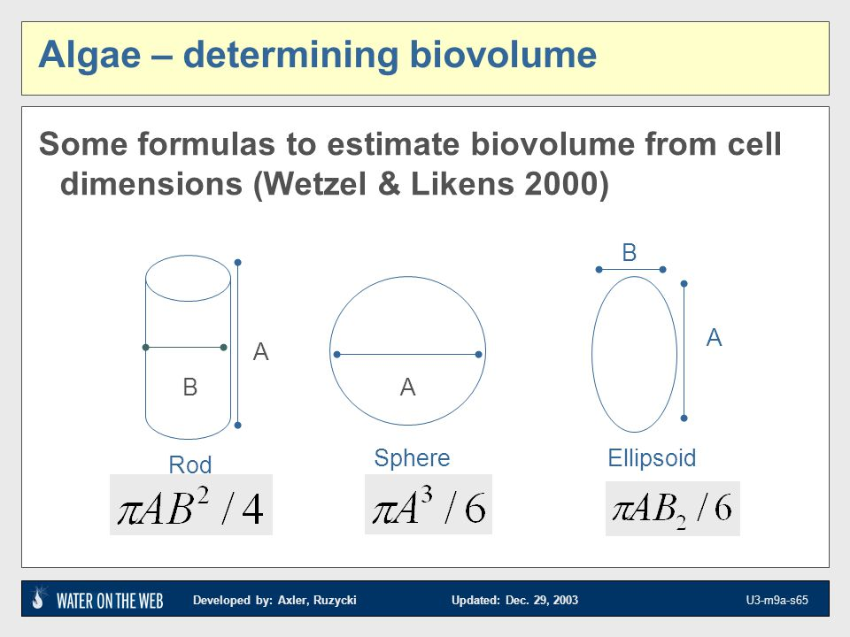 Developed by: Axler, Ruzycki Updated: Dec. 29, 2003 U3-m9a-s65 Algae – determining biovolume Some formulas to estimate biovolume from cell dimensions