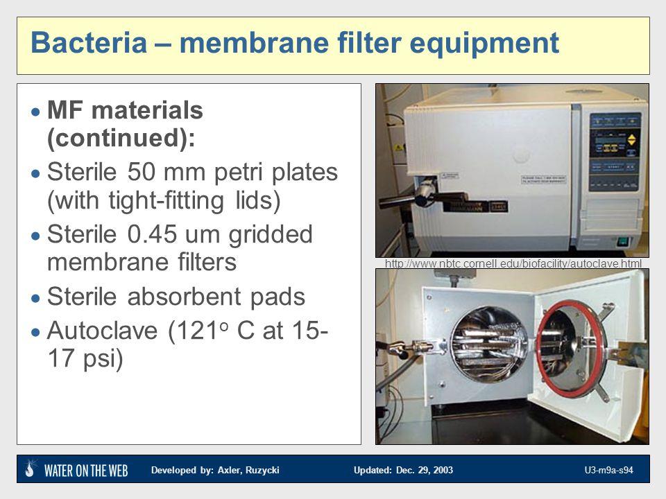 Developed by: Axler, Ruzycki Updated: Dec. 29, 2003 U3-m9a-s94 Bacteria – membrane filter equipment MF materials (continued): Sterile 50 mm petri plat
