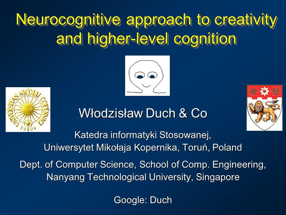 Neurocognitive approach to creativity and higher-level cognition Włodzisław Duch & Co Katedra informatyki Stosowanej, Uniwersytet Mikołaja Kopernika, Toruń, Poland Dept.
