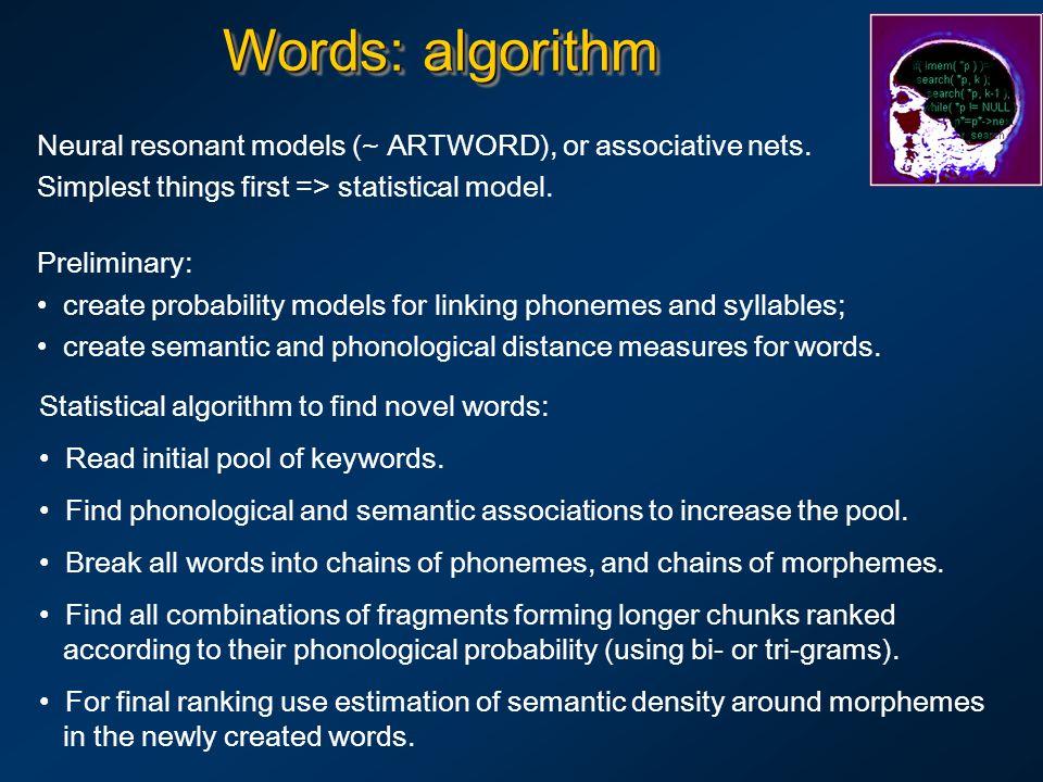 Words: algorithm Neural resonant models (~ ARTWORD), or associative nets.
