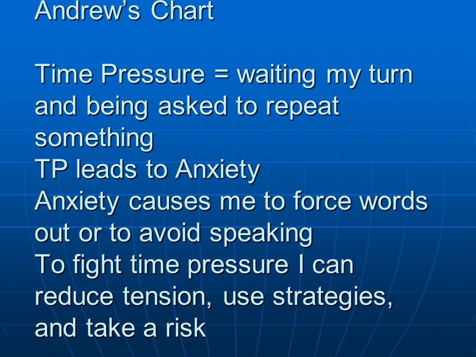Andrews Chart Time Pressure = waiting my turn and being asked to repeat something TP leads to Anxiety Anxiety causes me to force words out or to avoid speaking To fight time pressure I can reduce tension, use strategies, and take a risk