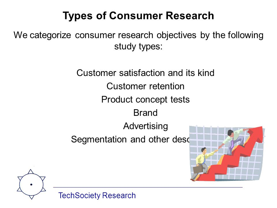 Types of Consumer Research We categorize consumer research objectives by the following study types: Customer satisfaction and its kind Customer retent