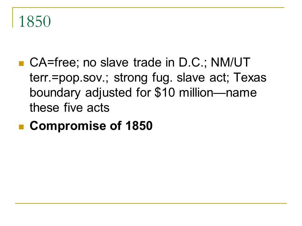 1850 CA=free; no slave trade in D.C.; NM/UT terr.=pop.sov.; strong fug.