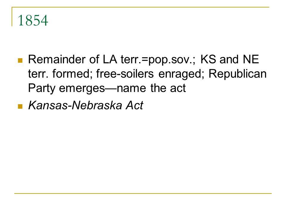 1854 Remainder of LA terr.=pop.sov.; KS and NE terr. formed; free-soilers enraged; Republican Party emergesname the act Kansas-Nebraska Act
