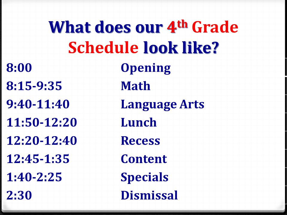 What does our 4 th Grade Schedule look like.