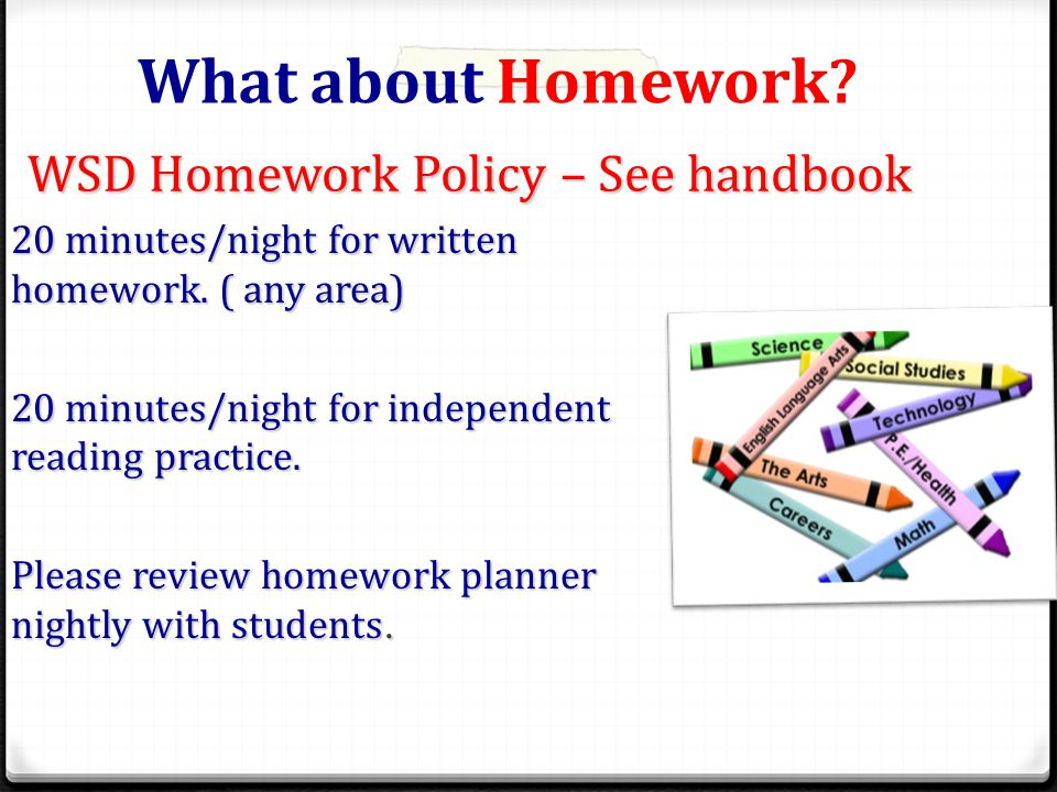 WSD Homework Policy – See handbook 20 minutes/night for written homework.