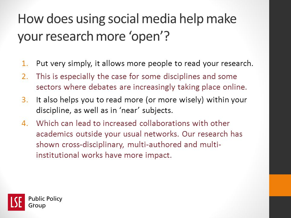 How does using social media help make your research more open.