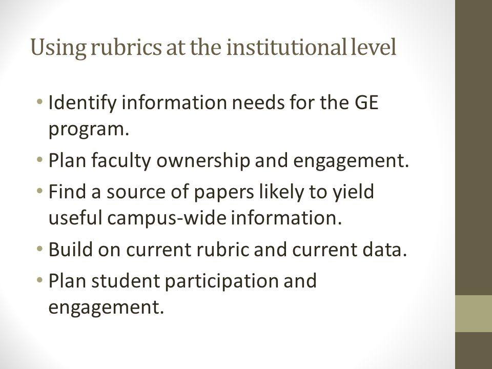 Using rubrics at the institutional level Identify information needs for the GE program.