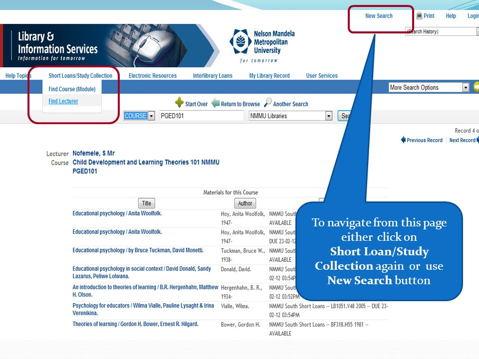 To navigate from this page either click on Short Loan/Study Collection again or use New Search button