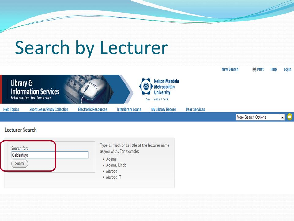 Search by Lecturer