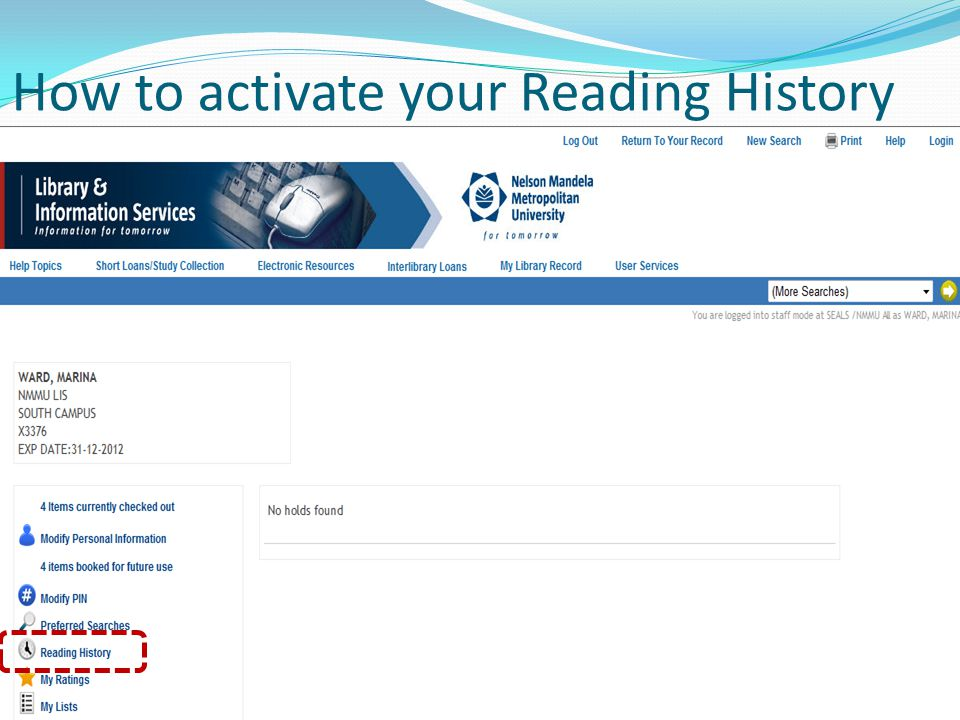 How to activate your Reading History