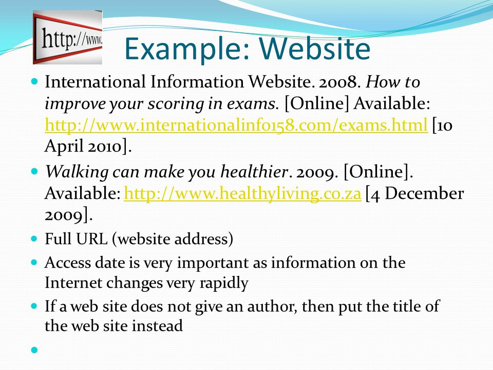 Example: Website International Information Website.