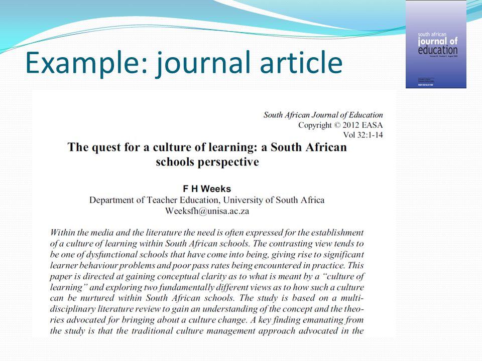 Example: journal article