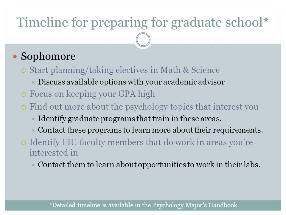 Timeline for preparing for graduate school* Sophomore Start planning/taking electives in Math & Science Discuss available options with your academic advisor Focus on keeping your GPA high Find out more about the psychology topics that interest you Identify graduate programs that train in these areas.