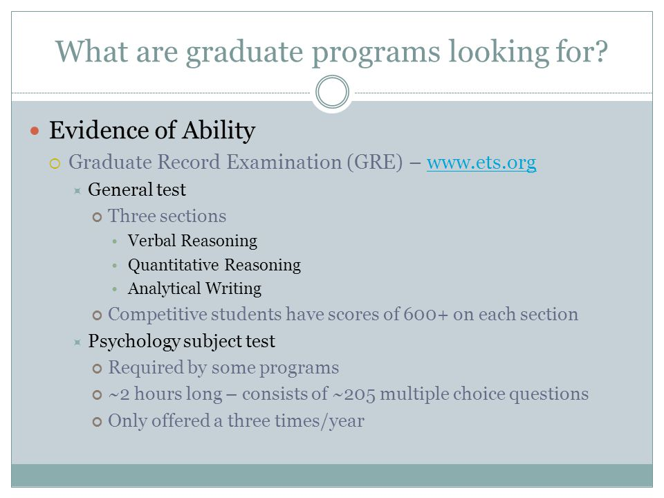 What are graduate programs looking for.