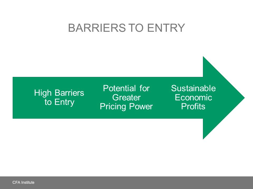 BARRIERS TO ENTRY Sustainable Economic Profits Potential for Greater Pricing Power High Barriers to Entry