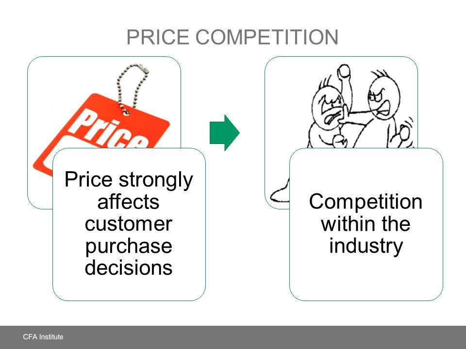 PRICE COMPETITION Price strongly affects customer purchase decisions Competition within the industry
