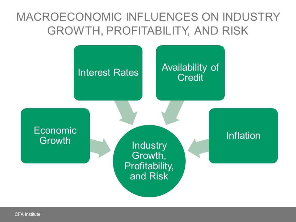 MACROECONOMIC INFLUENCES ON INDUSTRY GROWTH, PROFITABILITY, AND RISK Industry Growth, Profitability, and Risk Economic Growth Interest Rates Availabil