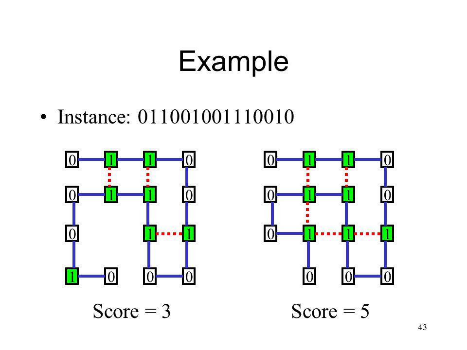 43 Example Instance: 011001001110010 0110 0 1 00 1 11 10 0 0 0110 0 1 00 1 11 1 0 0 0 Score = 5Score = 3