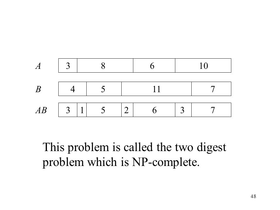 48 A B AB 3 4 31 8610 5117 75263 This problem is called the two digest problem which is NP-complete.