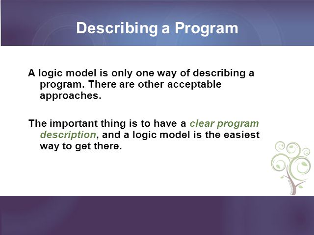 Describing a Program A logic model is only one way of describing a program. There are other acceptable approaches. The important thing is to have a cl