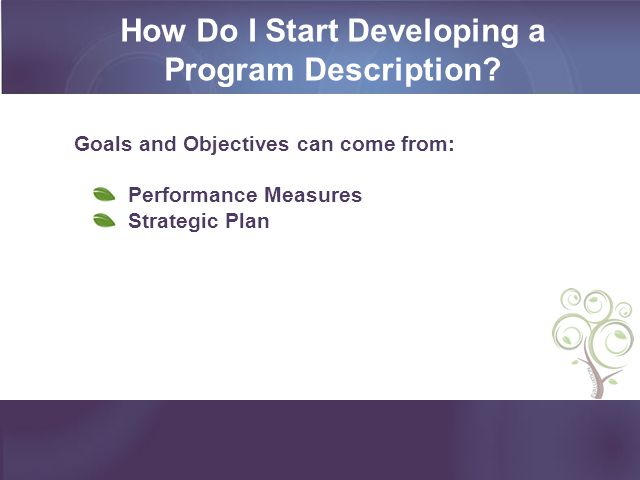 How Do I Start Developing a Program Description? Goals and Objectives can come from: Performance Measures Strategic Plan
