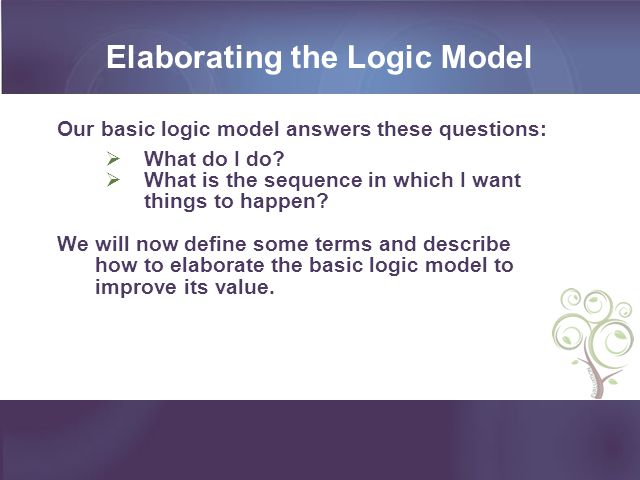 Elaborating the Logic Model Our basic logic model answers these questions: What do I do? What is the sequence in which I want things to happen? We wil