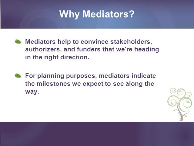 Why Mediators? Mediators help to convince stakeholders, authorizers, and funders that we're heading in the right direction. For planning purposes, med