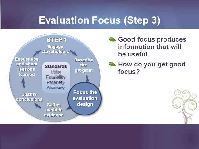 Begin with the Stakeholders (Step 1) As presented in last webinar, the first key to good focus is: Identify and engage the stakeholders.