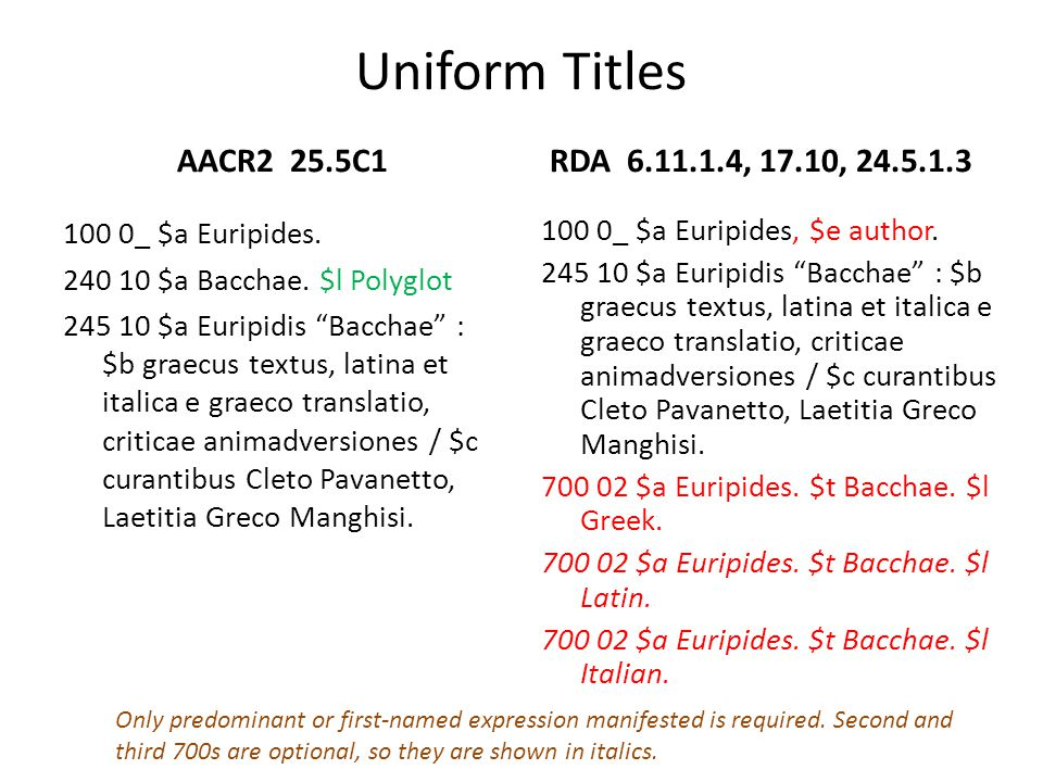 Uniform Titles AACR2 25.5C1 100 0_ $a Euripides. 240 10 $a Bacchae. $l Polyglot 245 10 $a Euripidis Bacchae : $b graecus textus, latina et italica e g