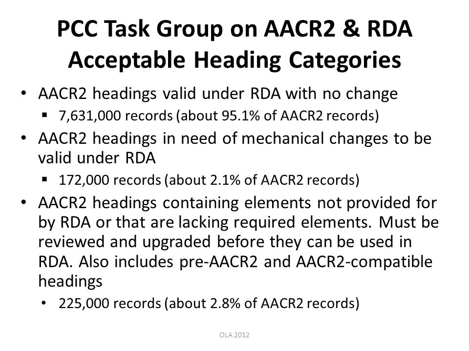 PCC Task Group on AACR2 & RDA Acceptable Heading Categories AACR2 headings valid under RDA with no change 7,631,000 records (about 95.1% of AACR2 records) AACR2 headings in need of mechanical changes to be valid under RDA 172,000 records (about 2.1% of AACR2 records) AACR2 headings containing elements not provided for by RDA or that are lacking required elements.