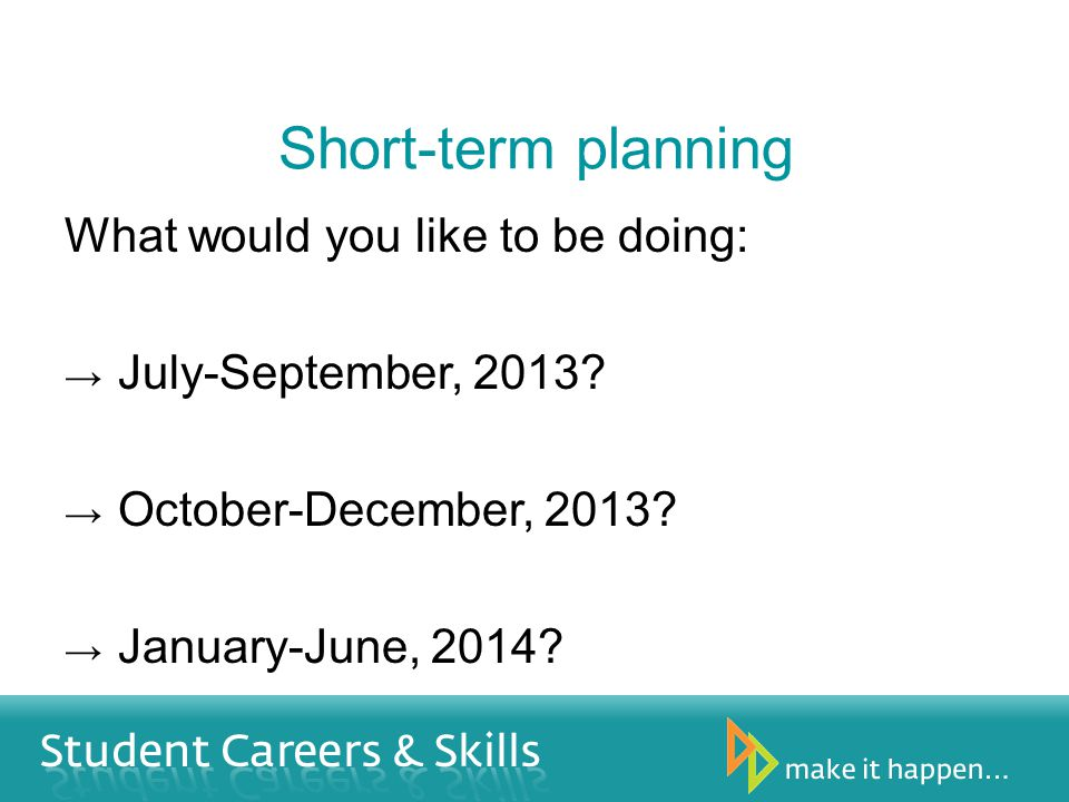 Short-term planning What would you like to be doing: July-September, 2013.