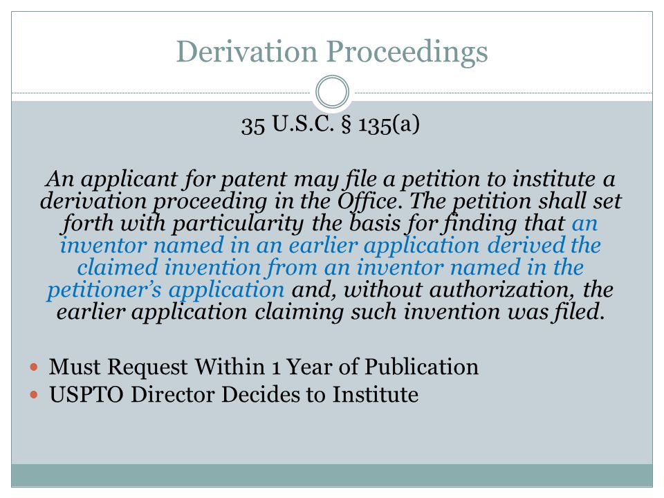 Derivation Proceedings 35 U.S.C.
