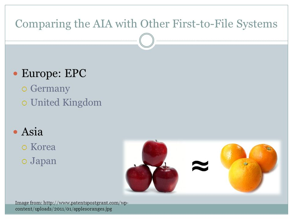 Comparing the AIA with Other First-to-File Systems Europe: EPC Germany United Kingdom Asia Korea Japan Image from: http://www.patentspostgrant.com/wp- content/uploads/2011/01/applesoranges.jpg