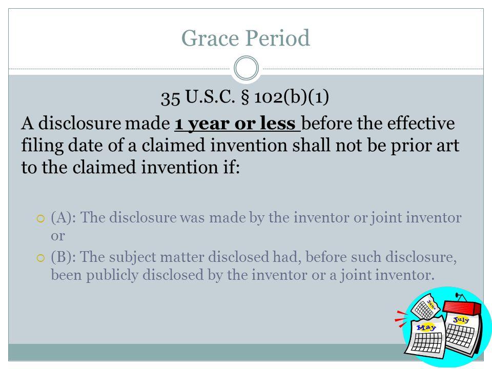 Grace Period 35 U.S.C.