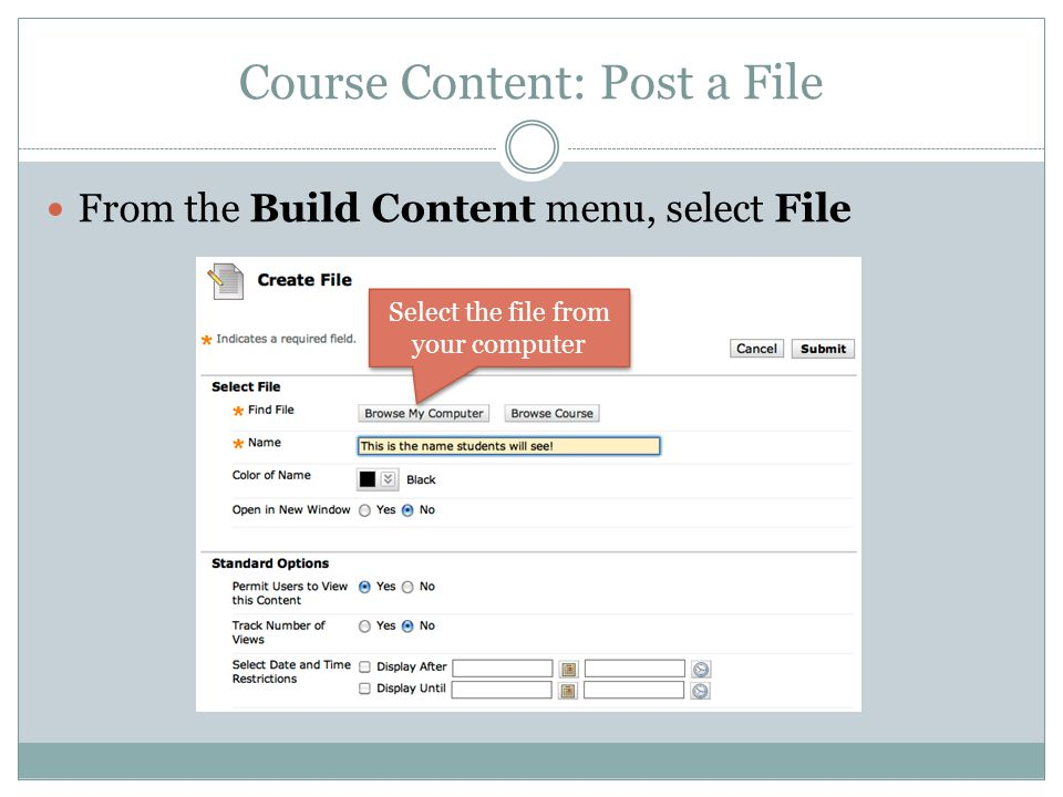 Course Content: Post a File From the Build Content menu, select File Select the file from your computer