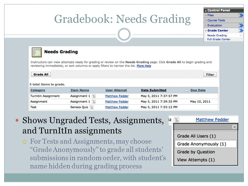 Gradebook: Needs Grading Shows Ungraded Tests, Assignments, and TurnItIn assignments For Tests and Assignments, may choose Grade Anonymously to grade all students submissions in random order, with students name hidden during grading process