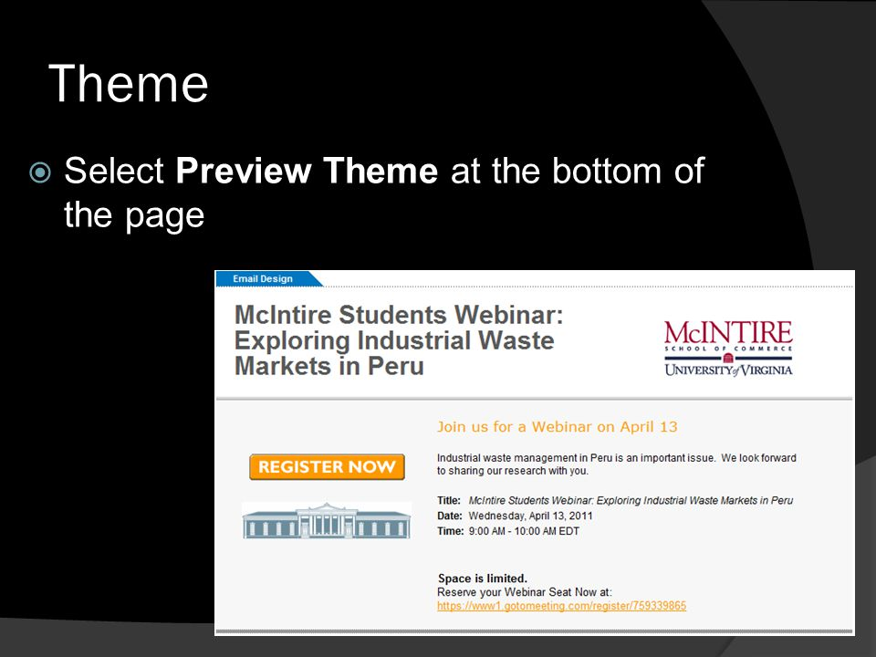 Theme Select Preview Theme at the bottom of the page