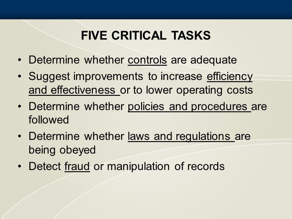 FIVE CRITICAL TASKS Determine whether controls are adequate Suggest improvements to increase efficiency and effectiveness or to lower operating costs
