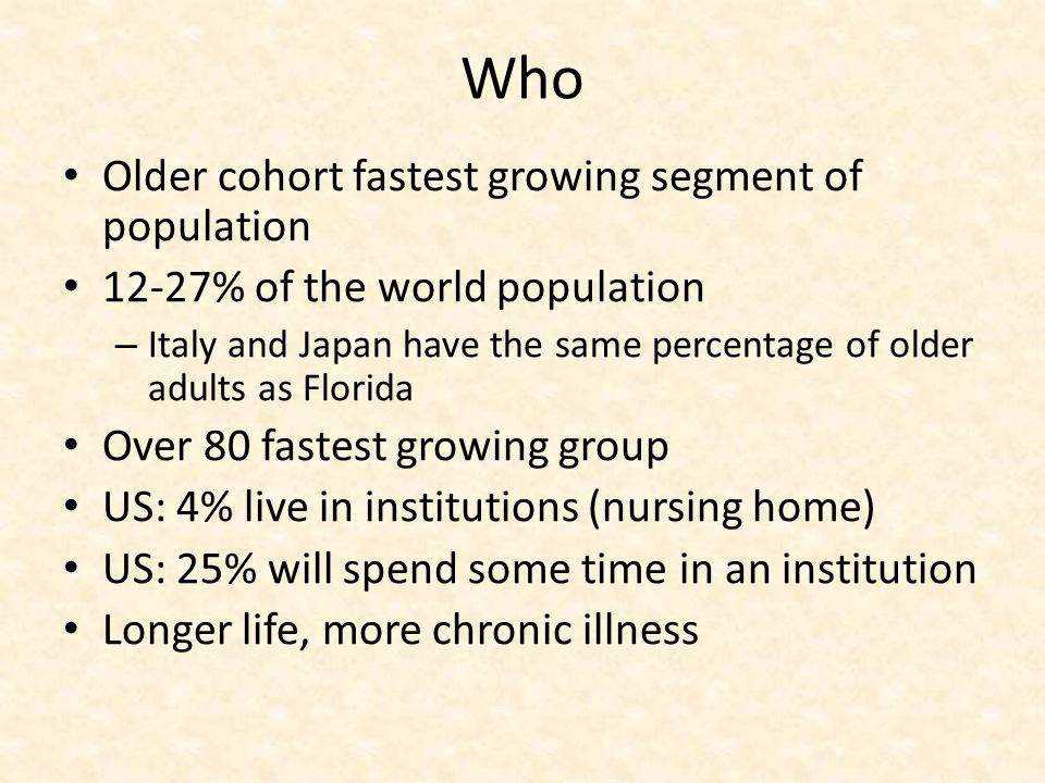 Who As many as 85% of these individuals have one or more chronic health problems The management of multiple chronic health problems can be complicated and involves balancing the demands of maintaining optimal health with other aspects of community living Ineffective self-management may lead to exacerbations of symptoms and hospitalization for up to 30% of older adults annually