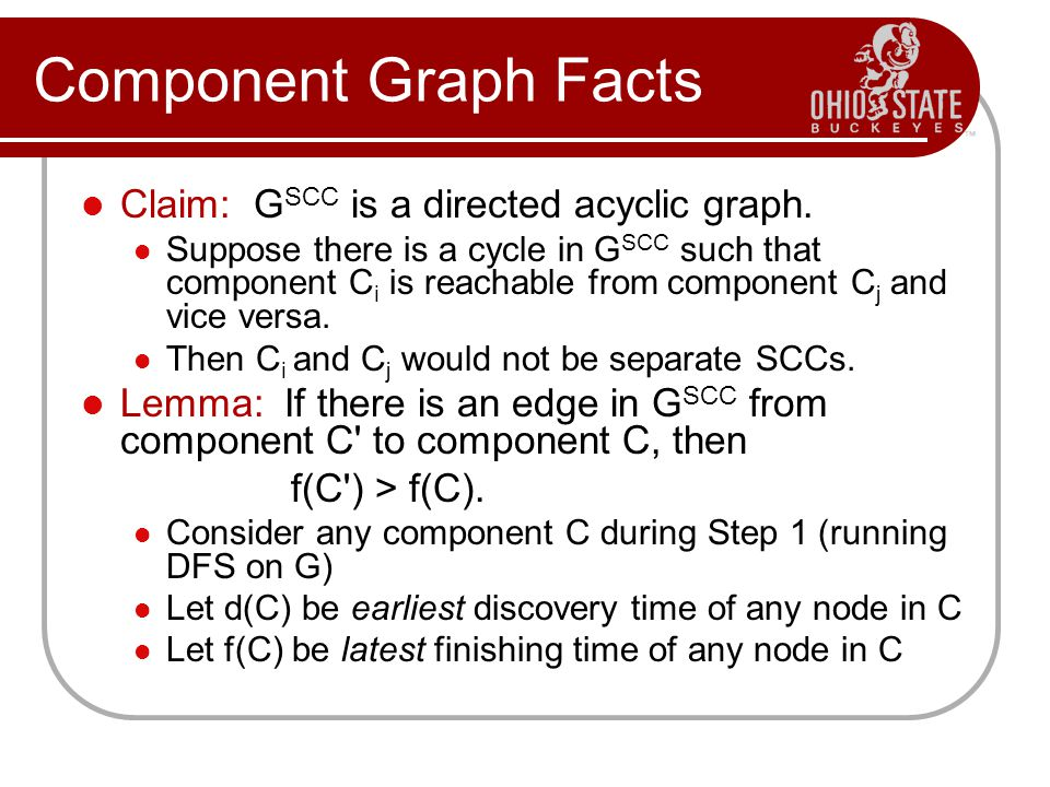 Component Graph Facts Claim: G SCC is a directed acyclic graph. Suppose there is a cycle in G SCC such that component C i is reachable from component