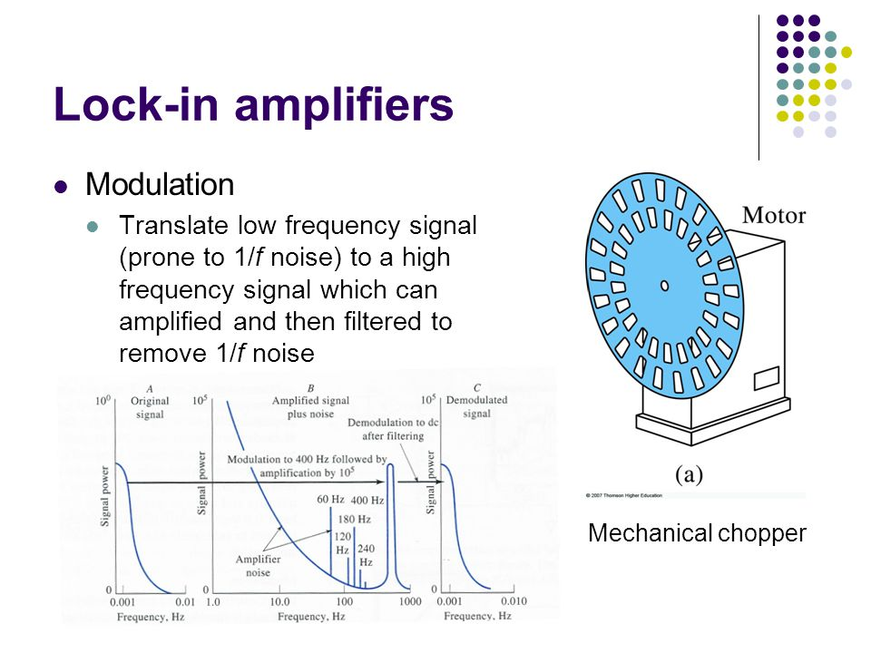 Lock-in amplifiers Modulation Translate low frequency signal (prone to 1/f noise) to a high frequency signal which can amplified and then filtered to remove 1/f noise Mechanical chopper