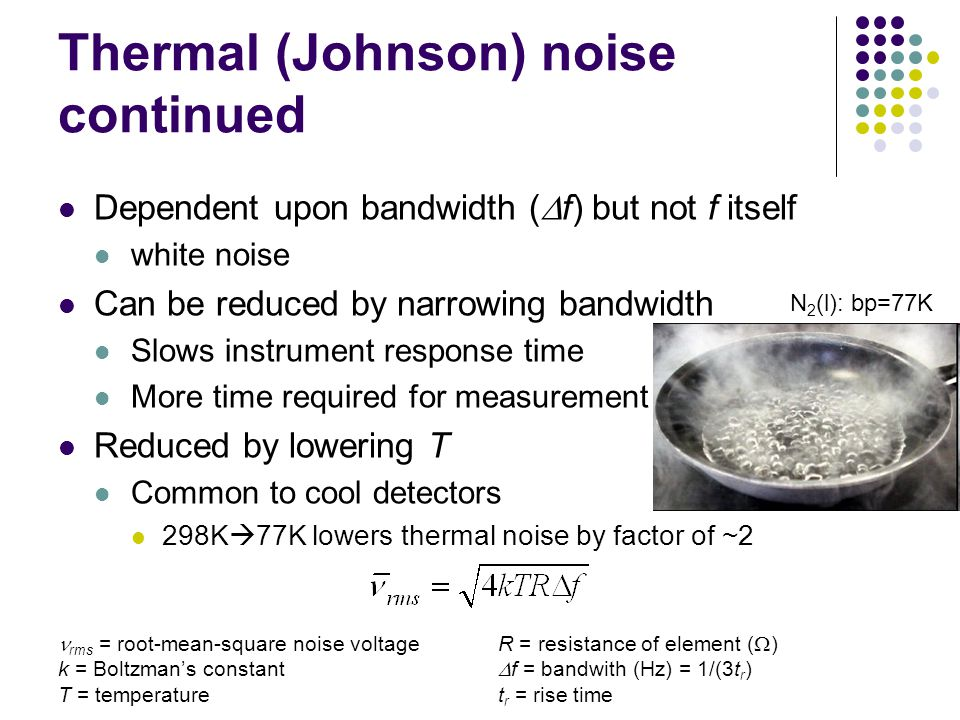 Thermal (Johnson) noise continued Dependent upon bandwidth ( f) but not f itself white noise Can be reduced by narrowing bandwidth Slows instrument response time More time required for measurement Reduced by lowering T Common to cool detectors 298K 77K lowers thermal noise by factor of ~2 rms = root-mean-square noise voltage k = Boltzmans constant T = temperature R = resistance of element ( ) f = bandwith (Hz) = 1/(3t r ) t r = rise time N 2 (l): bp=77K