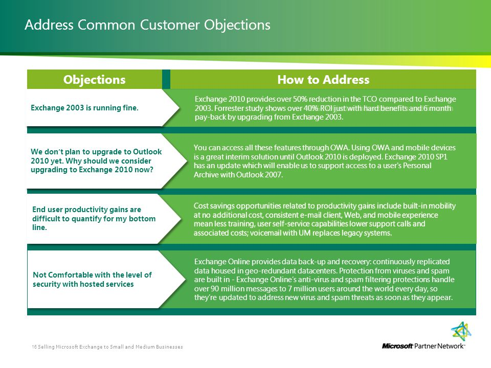 Address Common Customer Objections ObjectionsHow to Address Exchange 2010 provides over 50% reduction in the TCO compared to Exchange 2003. Forrester