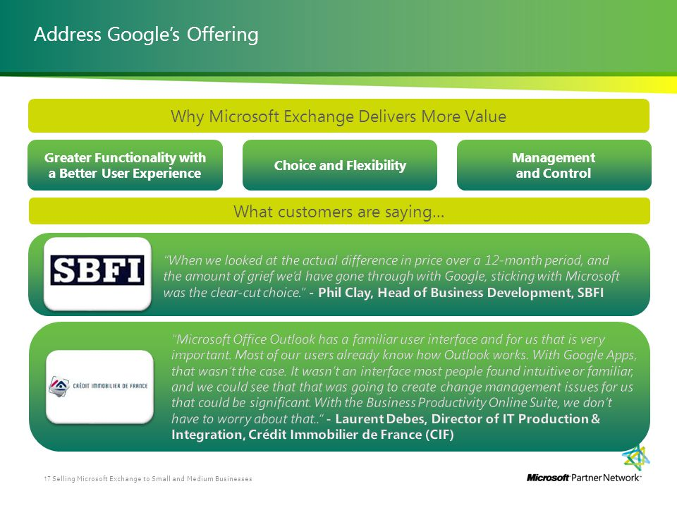 Address Googles Offering Greater Functionality with a Better User Experience Management and Control Choice and Flexibility Why Microsoft Exchange Deli