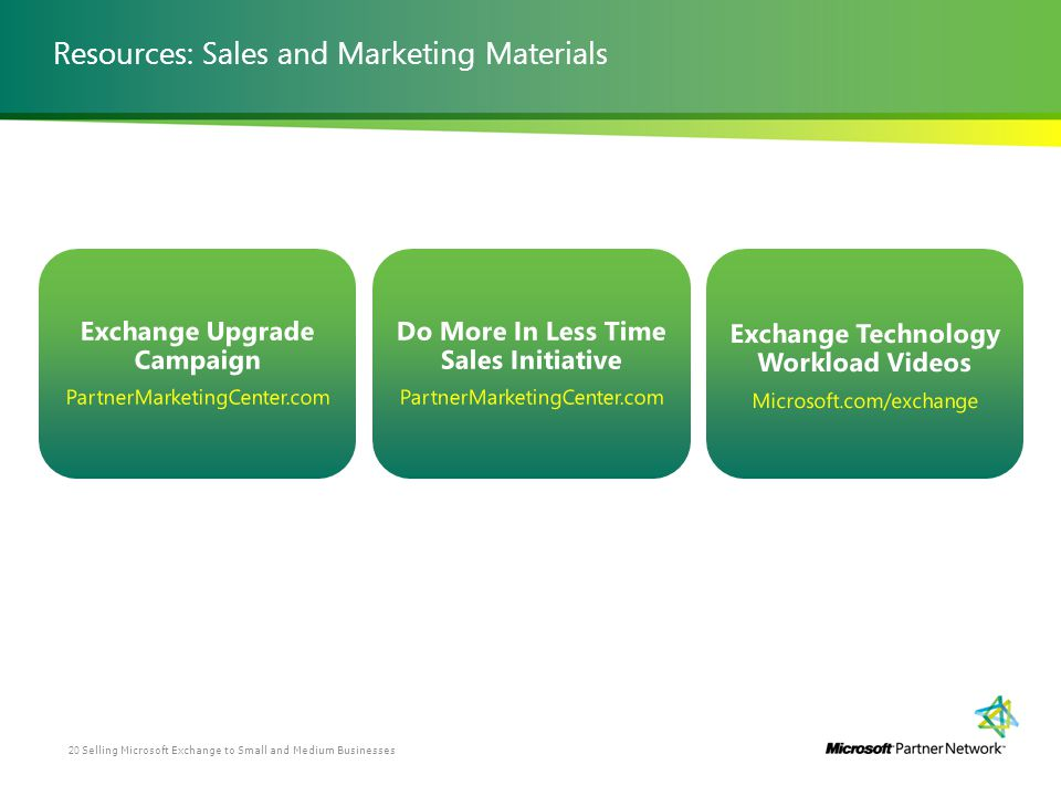 Resources: Sales and Marketing Materials Selling Microsoft Exchange to Small and Medium Businesses20